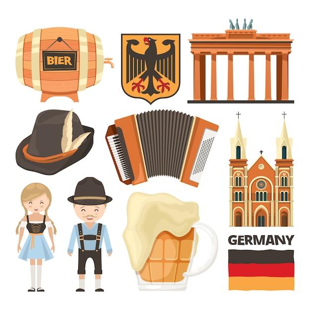 Ilustrações de marcos da alemanha e objetos culturais Vetor Premium