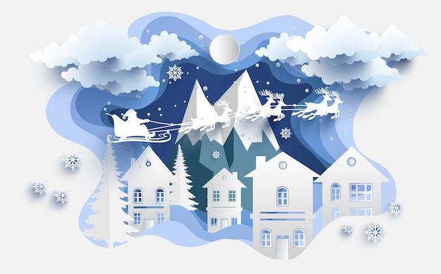 Ilustrações de papelaria e papai noel no inverno. arte de design e artesanato Vetor Premium