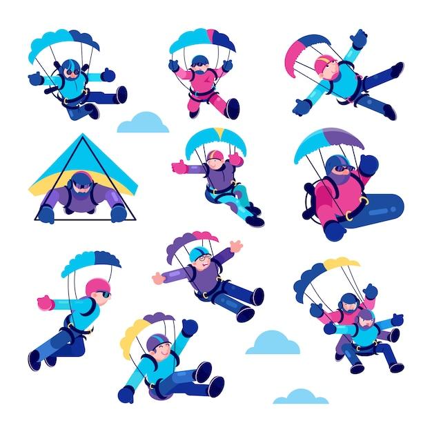 Ilustrações de pessoas felizes de parapente, pára-quedista ativo, para-quedas conjunto de esporte de salto Vetor Premium