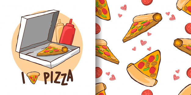Ilustrações de pizza Vetor Premium