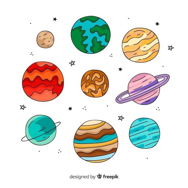 Ilustrações de planetas do sistema solar Vetor grátis