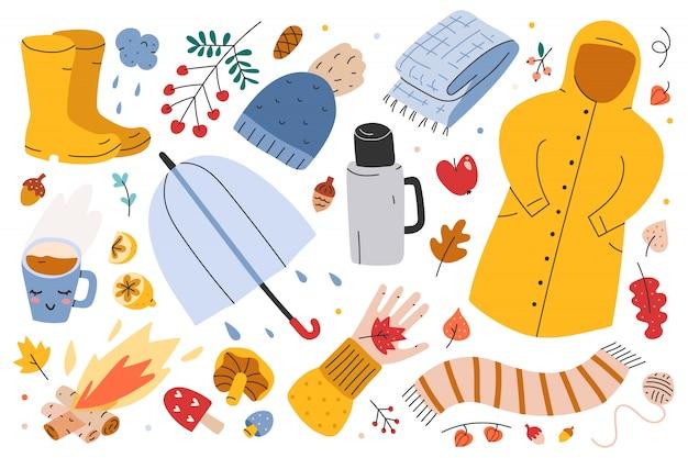 Ilustrações de roupas e acessórios sazonais de outono Vetor Premium
