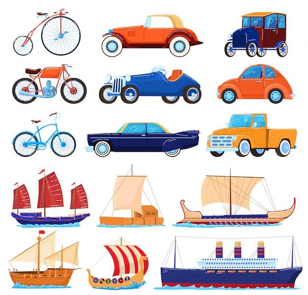 Ilustrações de transporte vintage, desenhos animados transportando conjunto clássico de carros esporte americano retrô, bicicleta velha, barcos de mar ou navio Vetor Premium