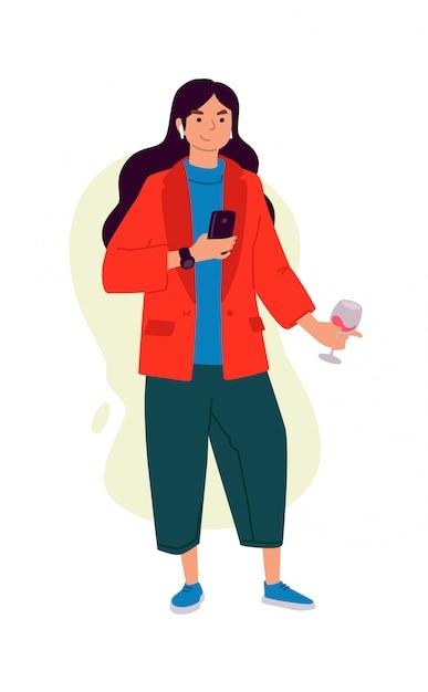 Ilustrações de uma menina com um copo de vinho e um telefone. Vetor Premium