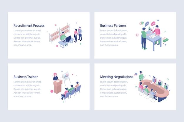 Ilustrações de vetor de trabalho e trabalhadores Vetor Premium