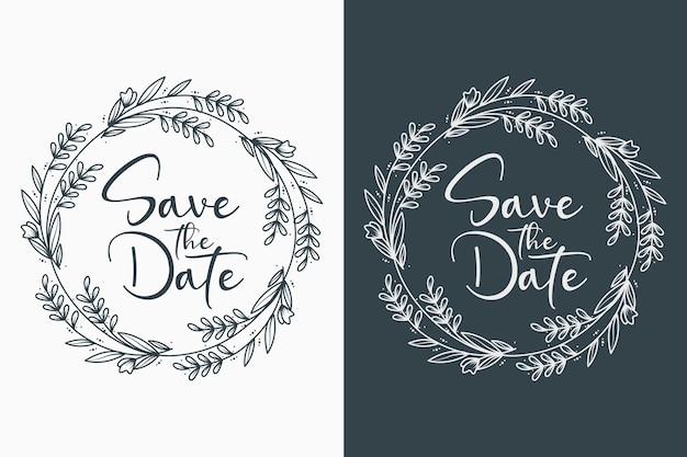 Ilustrações decorativas e mínimas de emblemas de casamento desenhadas à mão Vetor Premium