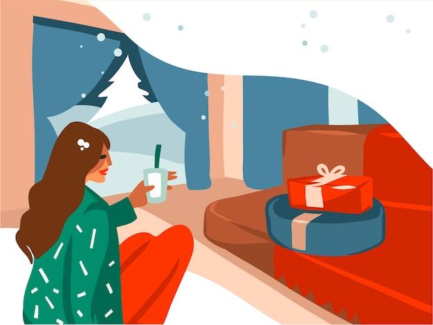 Ilustrações desenhadas de desenho animado de feliz natal e feliz ano novo Vetor Premium