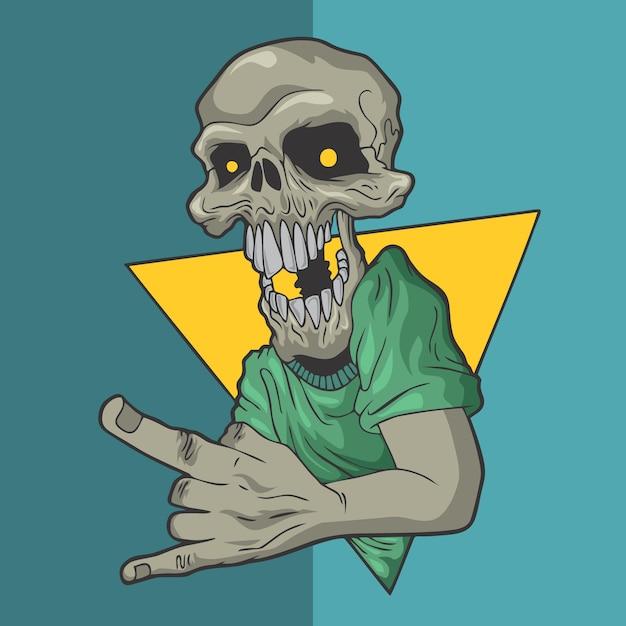 Ilustrações desenhadas mão do projeto do vetor do estilo do crânio de rockin. Vetor Premium