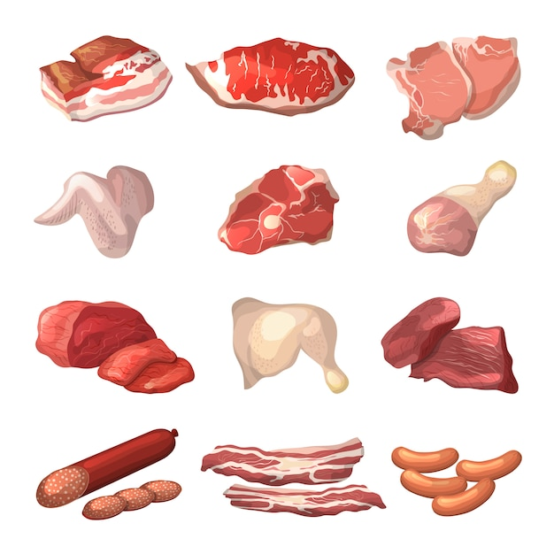 Ilustrações diferentes de carne. Vetor Premium