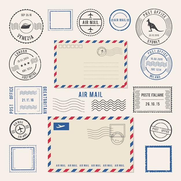 Ilustrações do vetor das letras e dos carimbos postais, projetos do correio aéreo. Vetor Premium