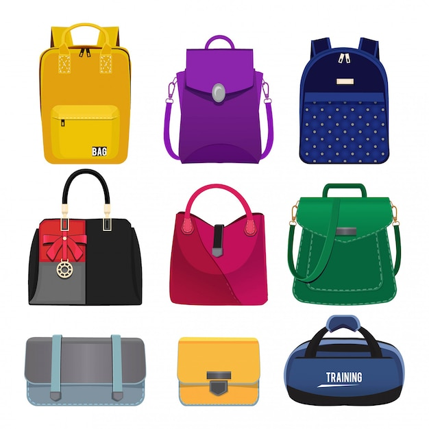 Ilustrações dos desenhos animados de bolsas das mulheres. conjunto de fotos de moda isolar Vetor Premium