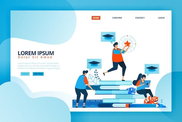 Ilustrações dos desenhos animados para programas de bolsas de estudos educacionais e de aprendizagem. estudo online para estudantes. melhore a qualidade e o desempenho. Vetor Premium