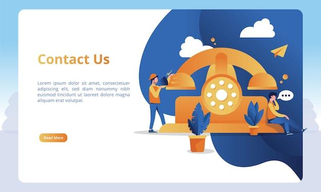 Ilustrações e chamadas telefônicas para entrar em contato conosco para obter modelos de página de destino Vetor Premium