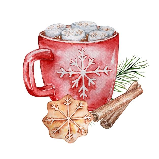 Ilustrações em aquarela de chocolate quente com marshmallows em uma caneca vermelha Vetor Premium
