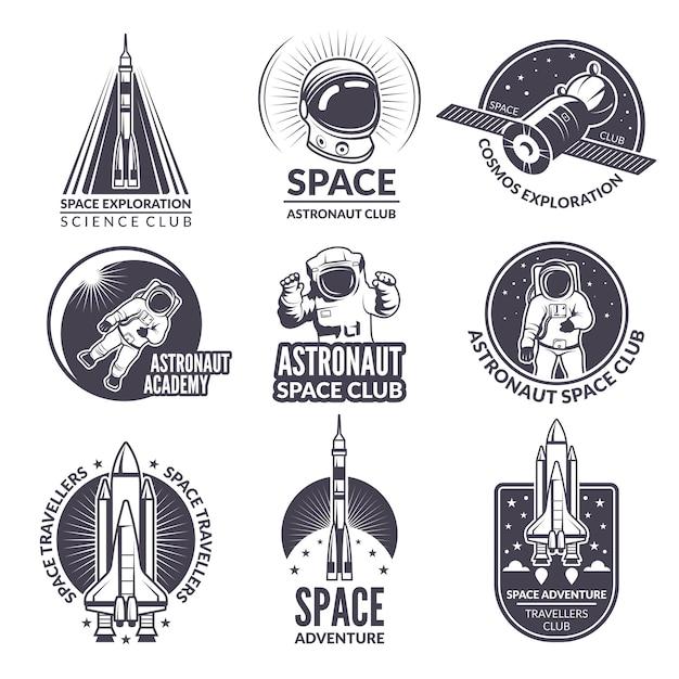 Ilustrações monocromáticas de ônibus espacial e astronautas para etiquetas e emblemas Vetor Premium
