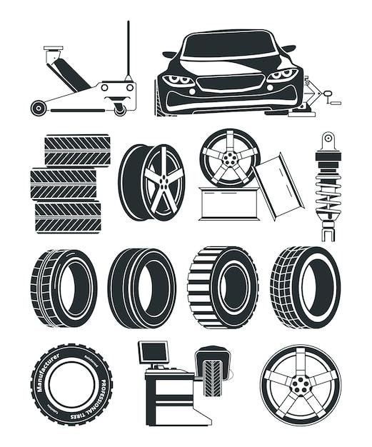 Ilustrações monocromáticas de símbolos de serviço de pneus, rodas e carros. reparação de pneus de serviço automóvel, vulcanização da estação Vetor Premium