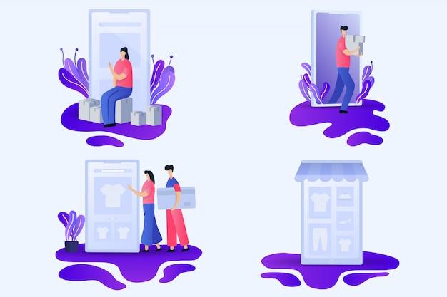 Ilustrações planas de loja online Vetor Premium