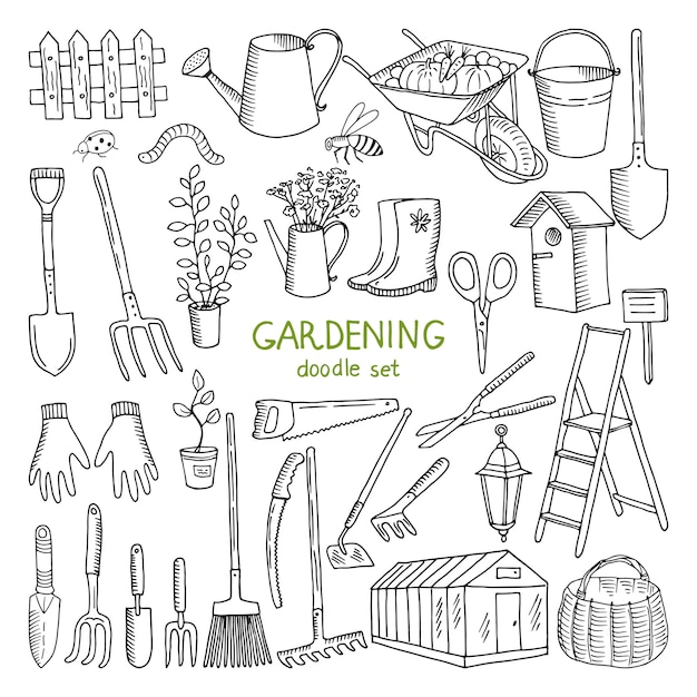 Ilustrações tiradas mão do vetor da jardinagem. Vetor Premium