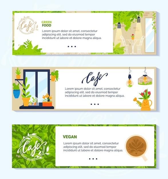 Ilustrações vetoriais de café verde vegetariano vegan. coleção de banner plana de desenho animado com interior moderno e móveis de cafeteria vegetariana ou restaurante Vetor Premium