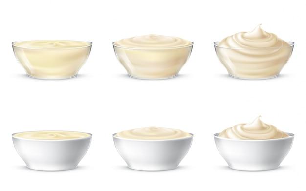 Ilustrações vetoriais de maionese, creme azedo, molho, creme doce, iogurte, creme cosmético Vetor grátis