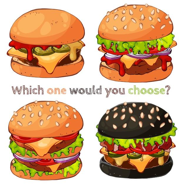 Ilustrações vetoriais sobre o tema de fast-food: conjunto de diferentes tipos de hambúrgueres. Vetor Premium