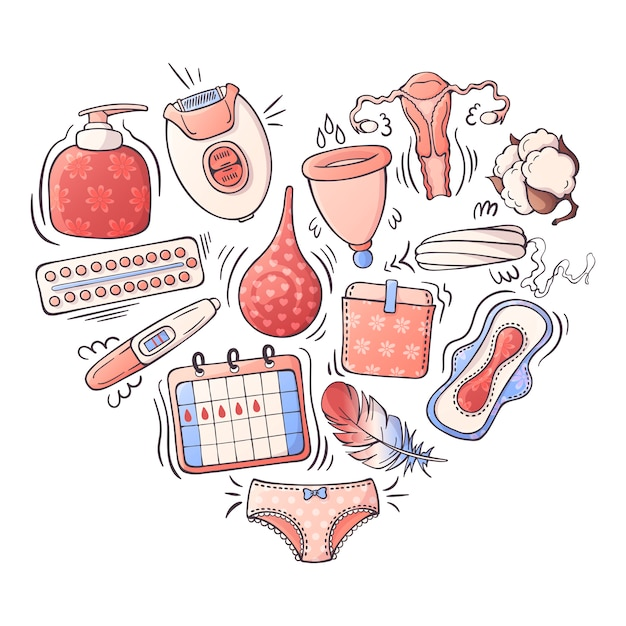 Ilustrações vetoriais sobre o tema de higiene feminina. Vetor Premium
