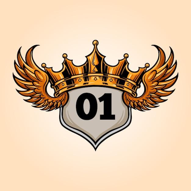 Ilustrações vintage da coroa do rei do emblema Vetor Premium