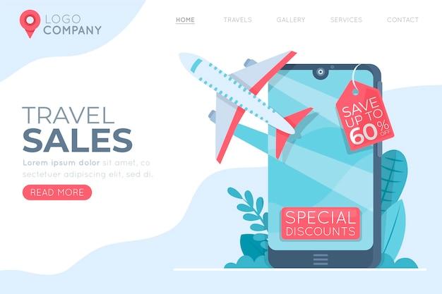 Ilustrada página da web de vendas em viagem Vetor grátis