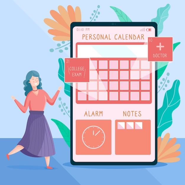 Ilustrado jovem marcar uma consulta com um aplicativo de smartphone Vetor grátis