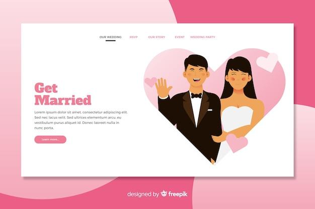 Ilustrado noivos no modelo de página de destino de casamento Vetor grátis