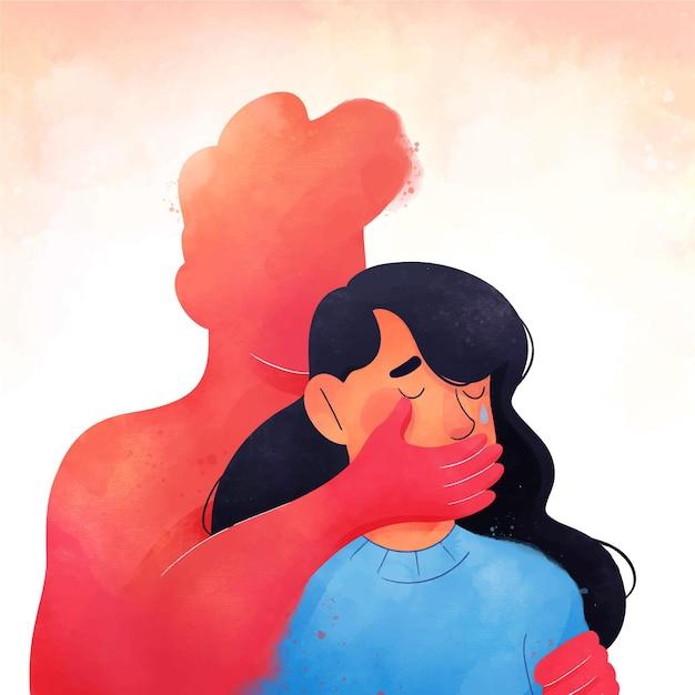Ilustrado parar o conceito de violência de gênero Vetor grátis