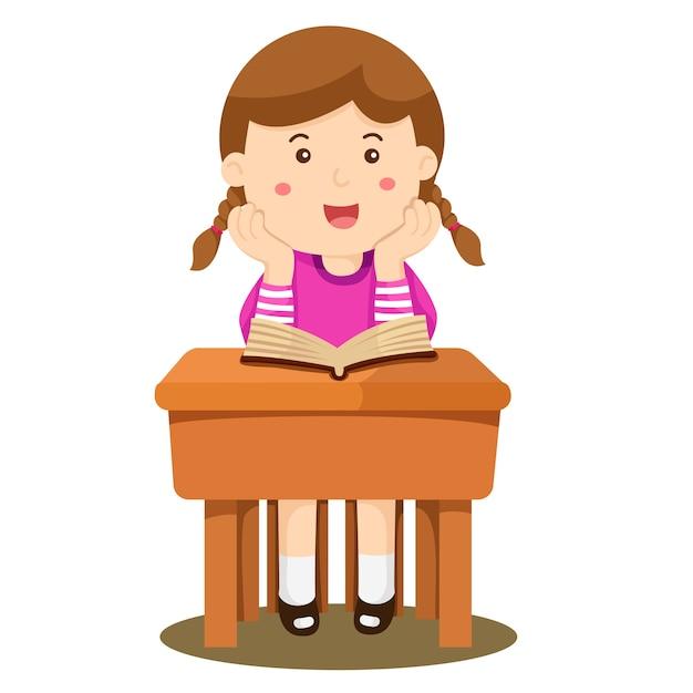 Ilustrador Da Menina Estudando Em Sala De Aula Vetor Premium