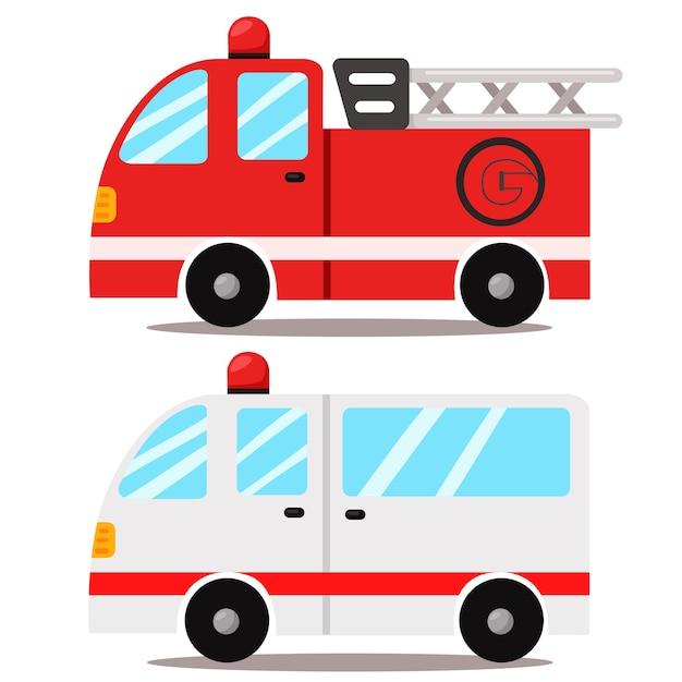 Ilustrador de ambulância e caminhão de bombeiros Vetor Premium