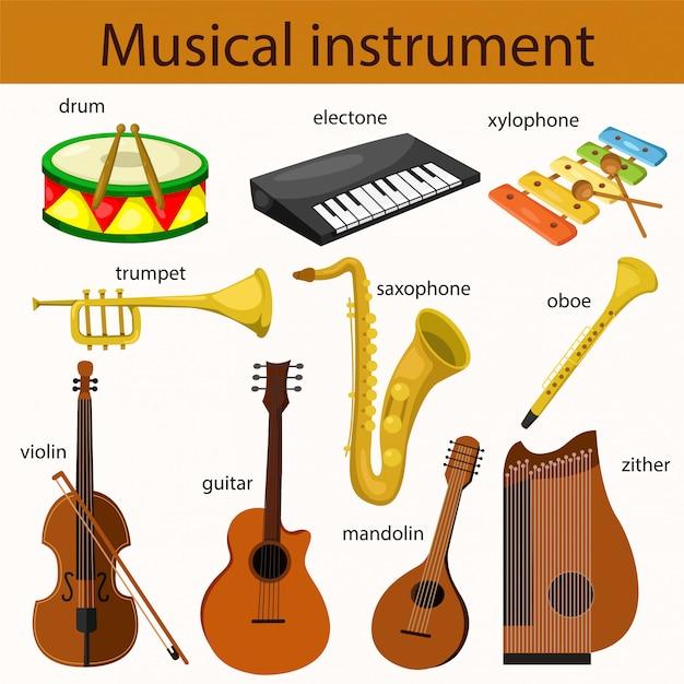 Ilustrador de conjunto de instrumentos musicais Vetor Premium