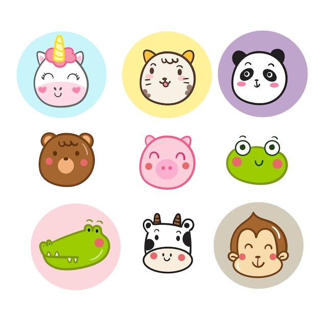 Ilustrador de desenhos animados de cara animal Vetor Premium