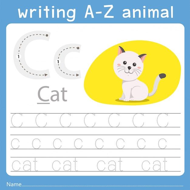 Ilustrador de escrever az animal c Vetor Premium
