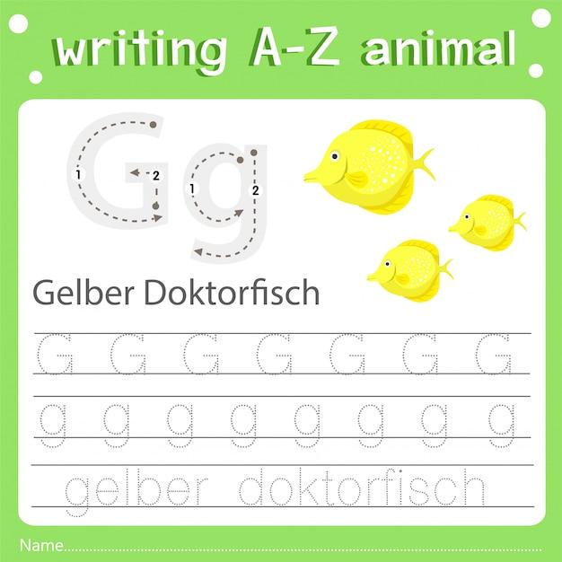 Ilustrador de escrever az animal g gelber doktorfisch Vetor Premium