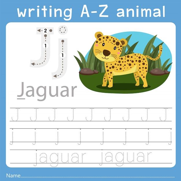 Ilustrador de escrever az animal j Vetor Premium