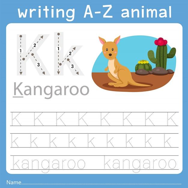 Ilustrador de escrever az animal k Vetor Premium