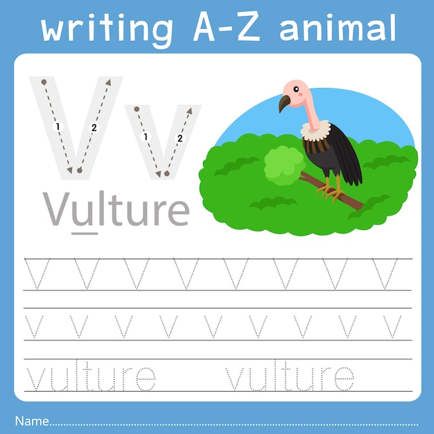 Ilustrador de escrever az animal v Vetor Premium