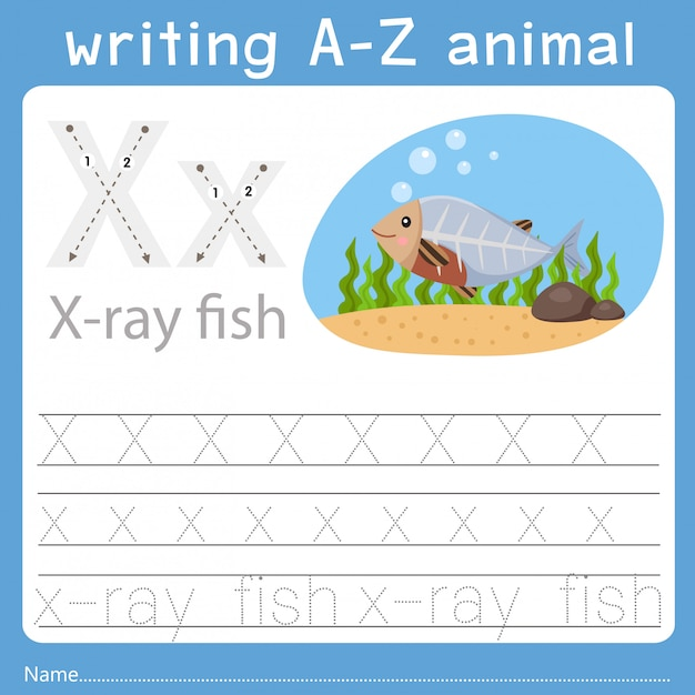 Ilustrador de escrever az animal x Vetor Premium
