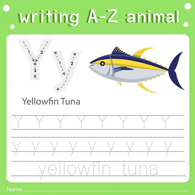 Ilustrador de escrever az animal y atum albacora Vetor Premium
