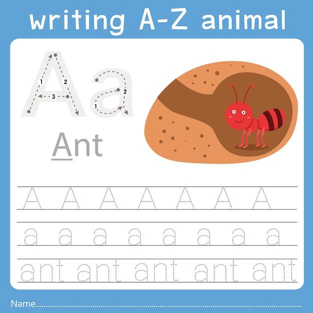 Ilustrador de escrever um animal az Vetor Premium