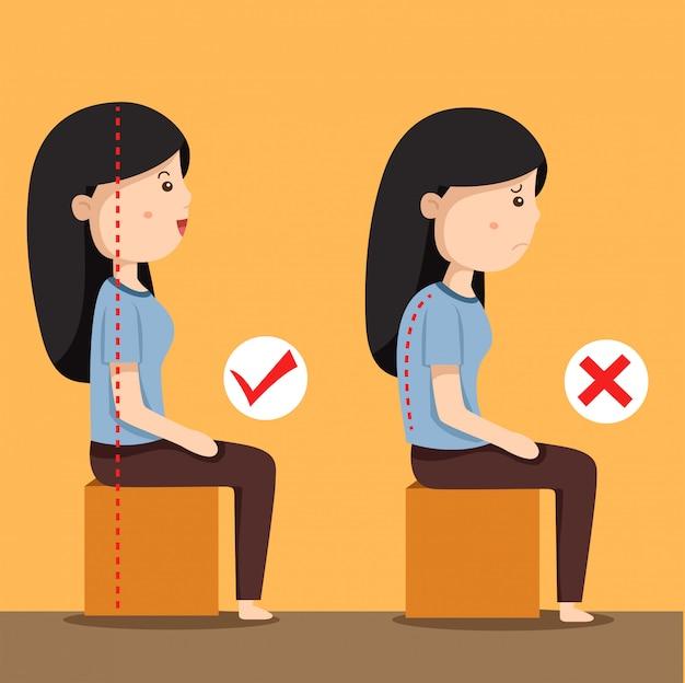 Ilustrador, de, mulheres sentando, posição Vetor Premium