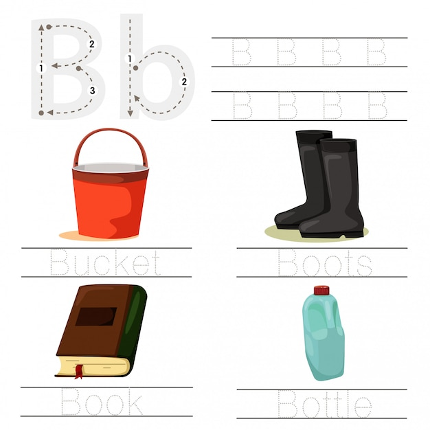 Ilustrador de planilha para fonte b de crianças Vetor Premium