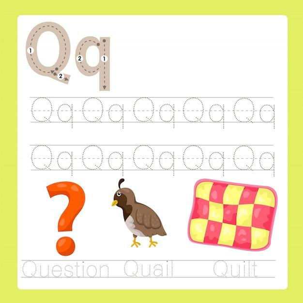 Ilustrador de q exercício vocabulário de desenhos animados az Vetor Premium