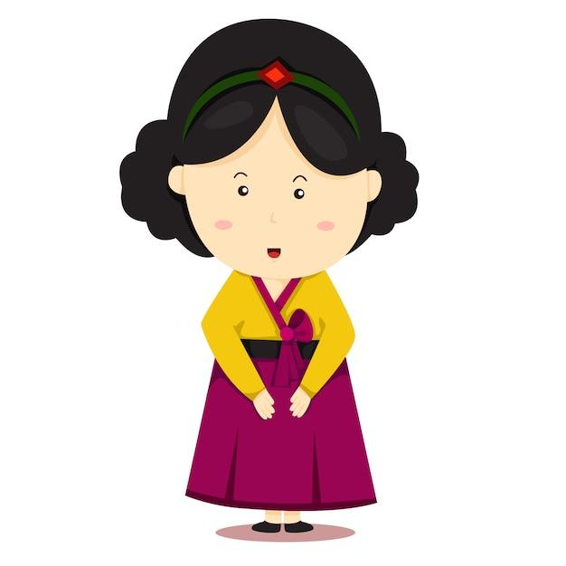 Ilustrador, de, série nacional, coreia sul Vetor Premium