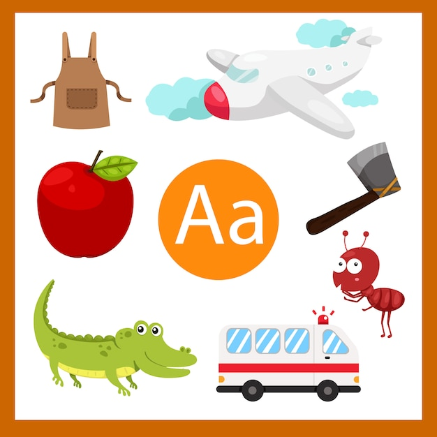 Ilustrador de um alfabeto para crianças Vetor Premium
