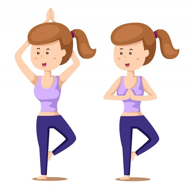 Ilustrador de yoga definir um com exercícios de menina Vetor Premium