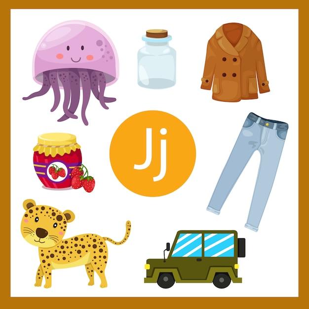 Ilustrador do alfabeto j para crianças Vetor Premium
